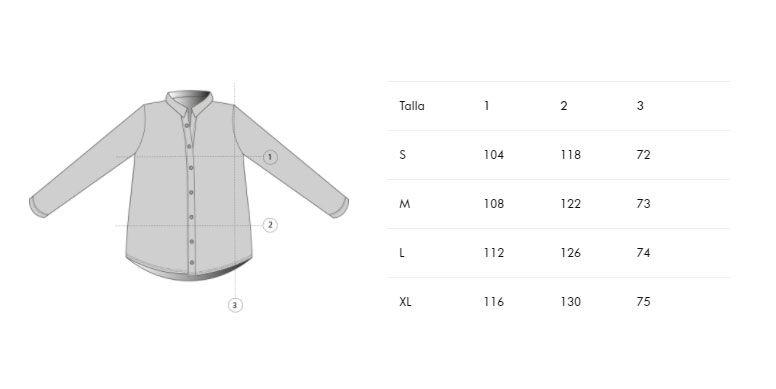 Guía de tallas camisa mujer algodón orgánico