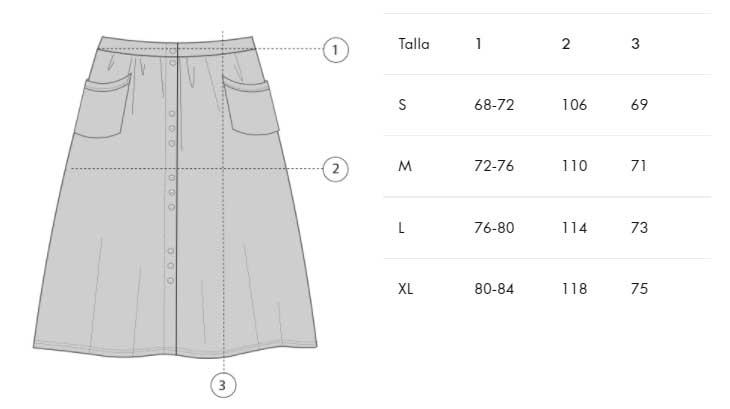 Guía de tallas falda muselina Tiralahilacha