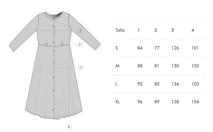 Guía de tallas vestido escote redondo aw21 tiralahilacha