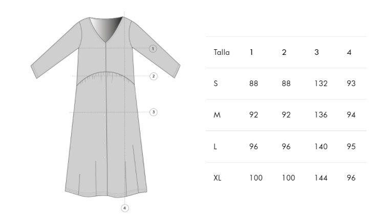 Guia de tallas vestido oversize corto