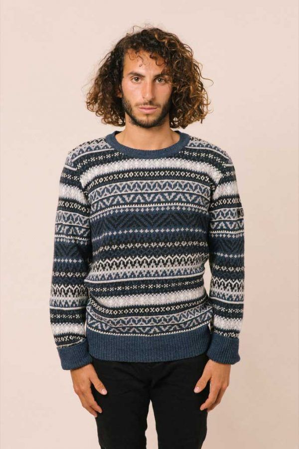 Jersey azul lana hombre