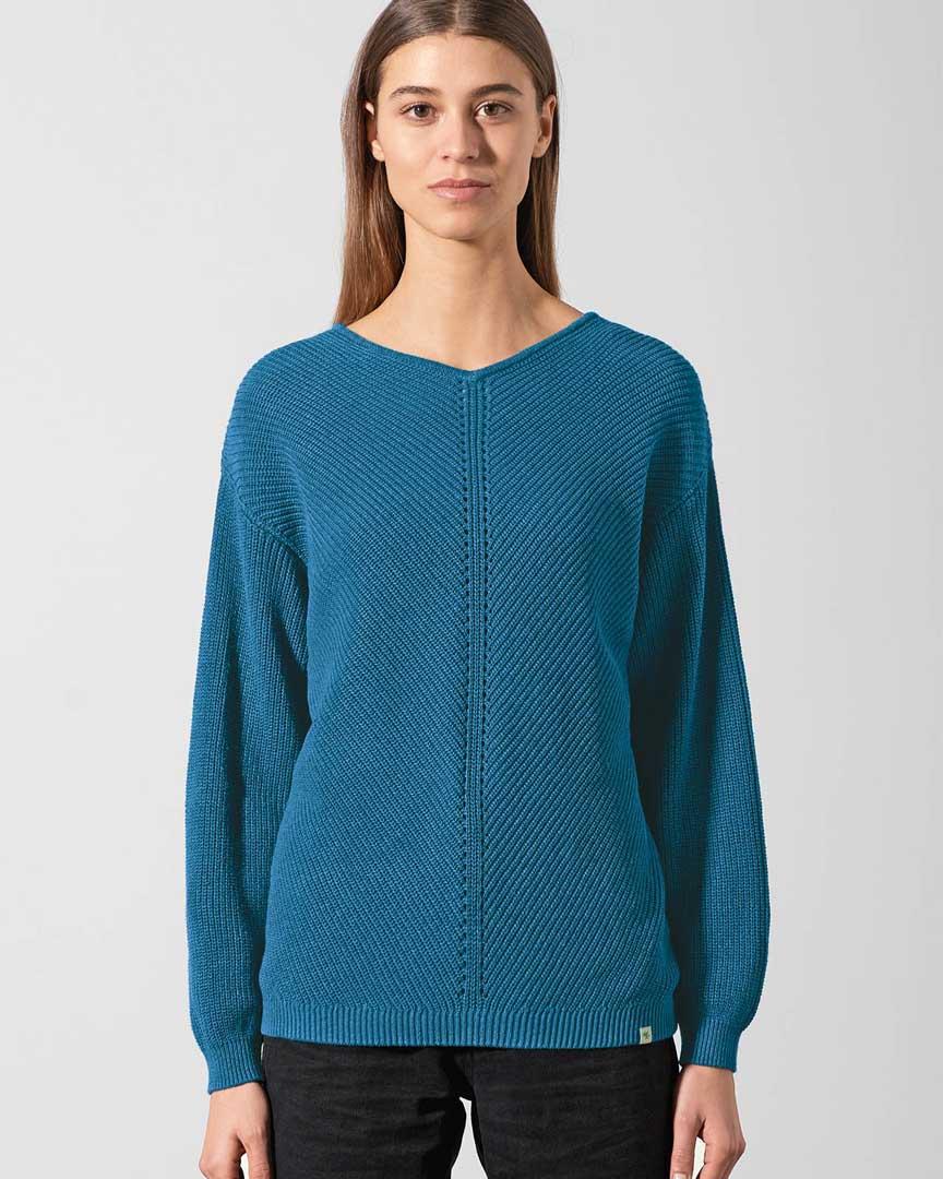 Jersey cuello pico ecológico azul mujer