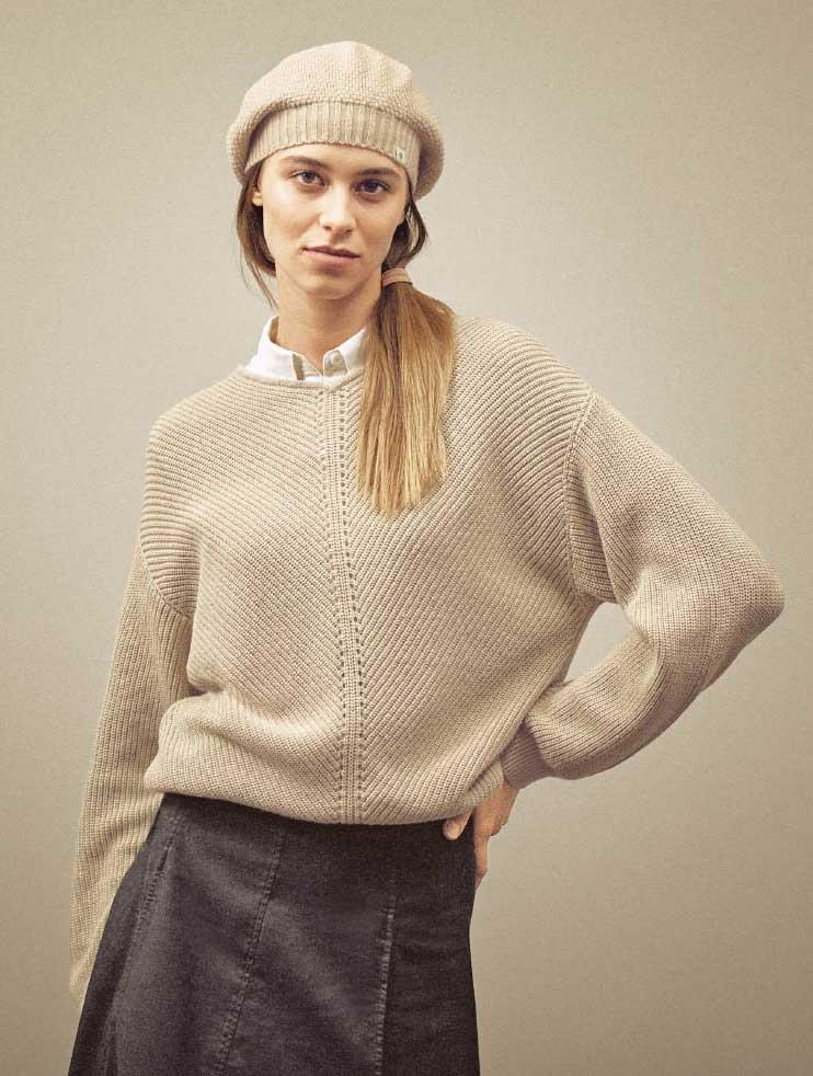 Jersey cuello pico mujer de cáñamo y algodón ecológico