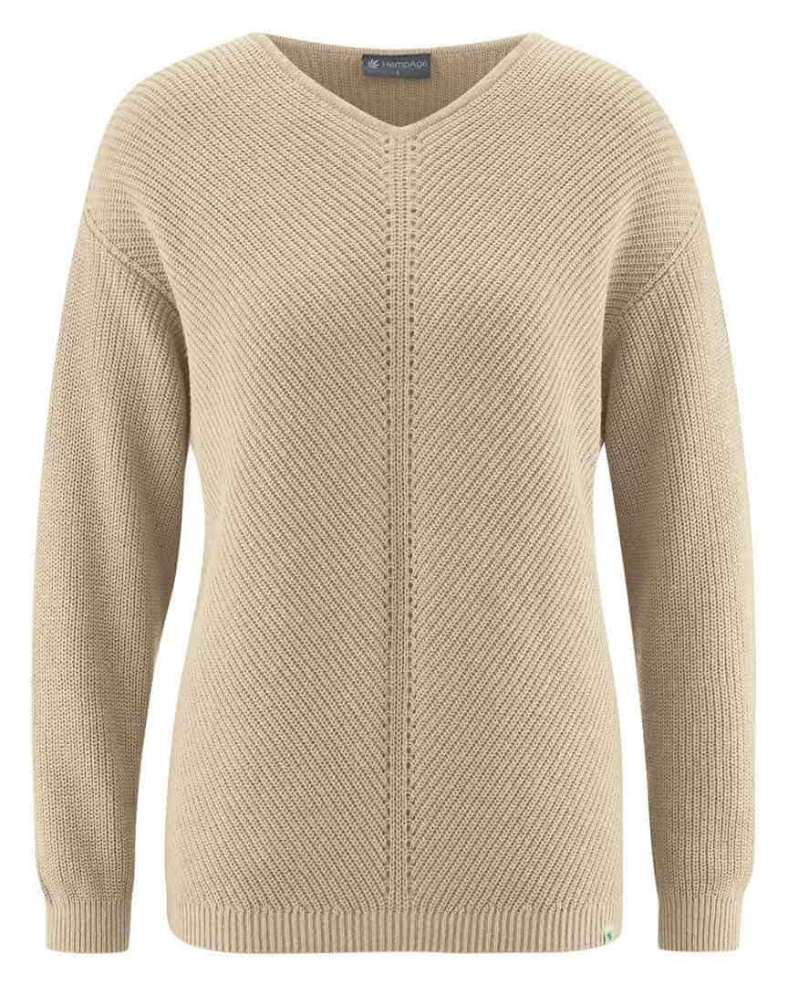 Jersey cuello pico mujer de cáñamo y algodón orgánico beige