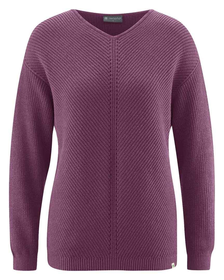 Jersey cuello pico mujer de cáñamo y algodón orgánico púrpura