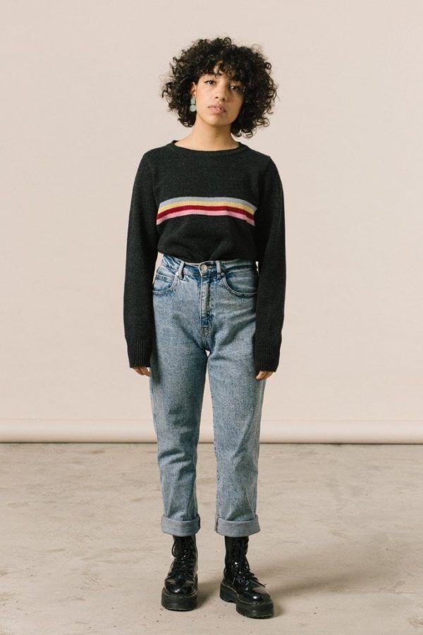 Jersey mujer iaios negro con rayas multicolor