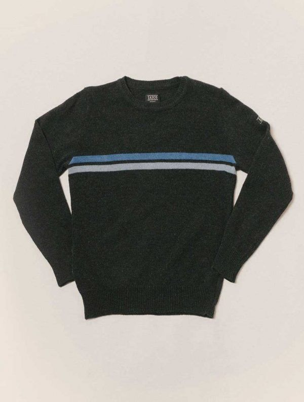Jersey negro con rayas azules de lana reciclada