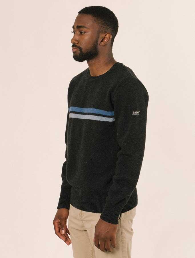 Jersey negro hombre de lana reciclada