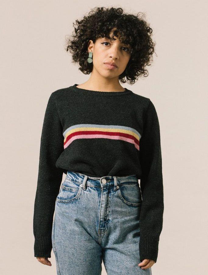 Jersey negro para mujer de hilo reciclado