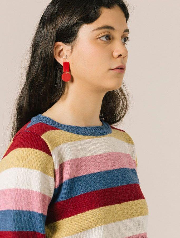 Jersey rayas colores lana reciclada mujer