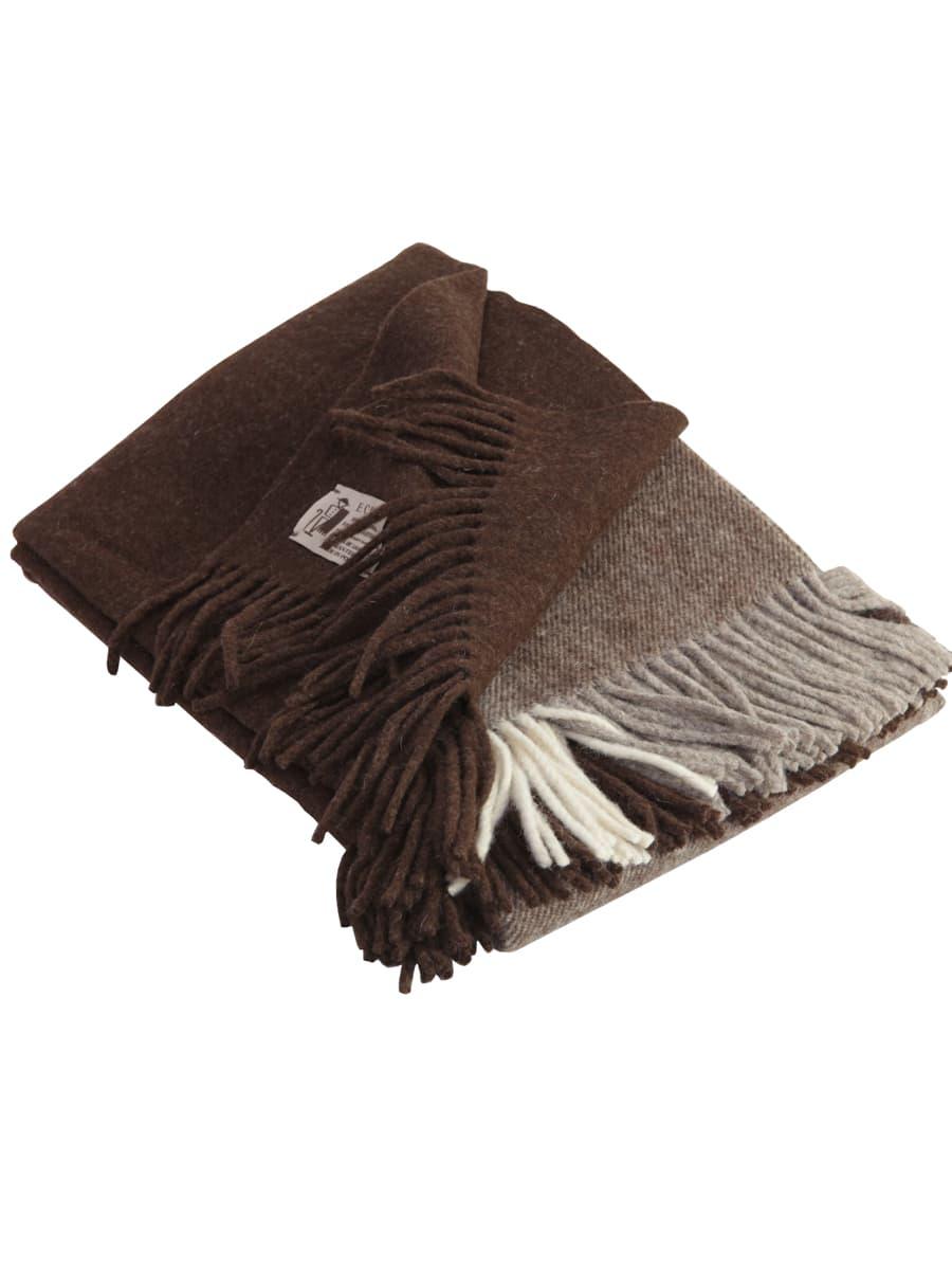 Manta para sofá color marrón de lana ecológica