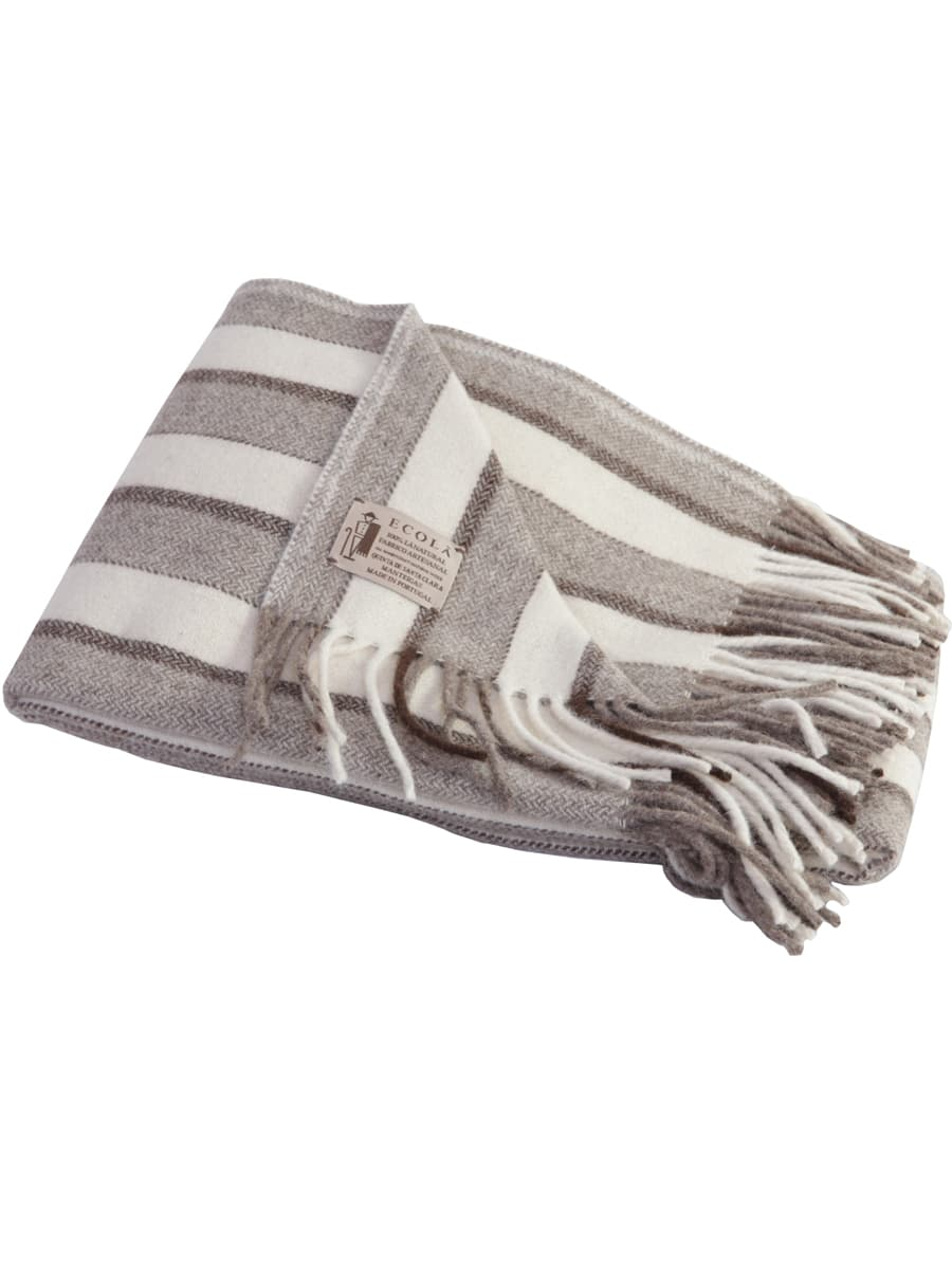 Manta rayas de lana ecológica clara