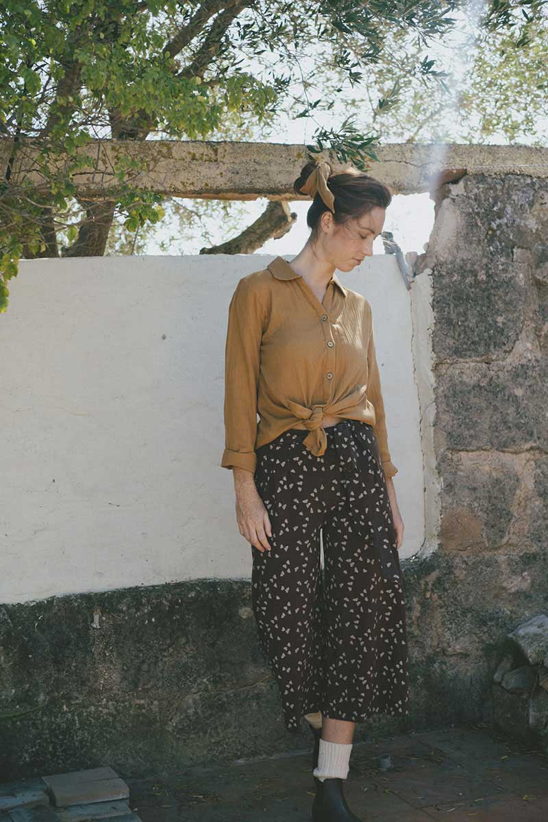 Pantalón culotte color marrón algodón orgánico