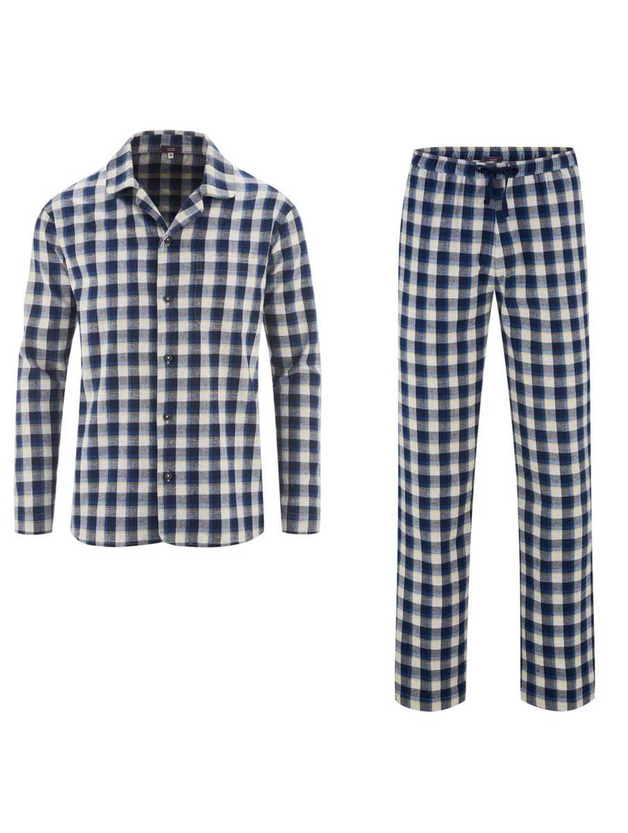 Pijama invierno hombre de cuadros ecológico azul