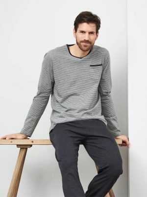 Pijama largo de algodón orgánico para hombre color gris