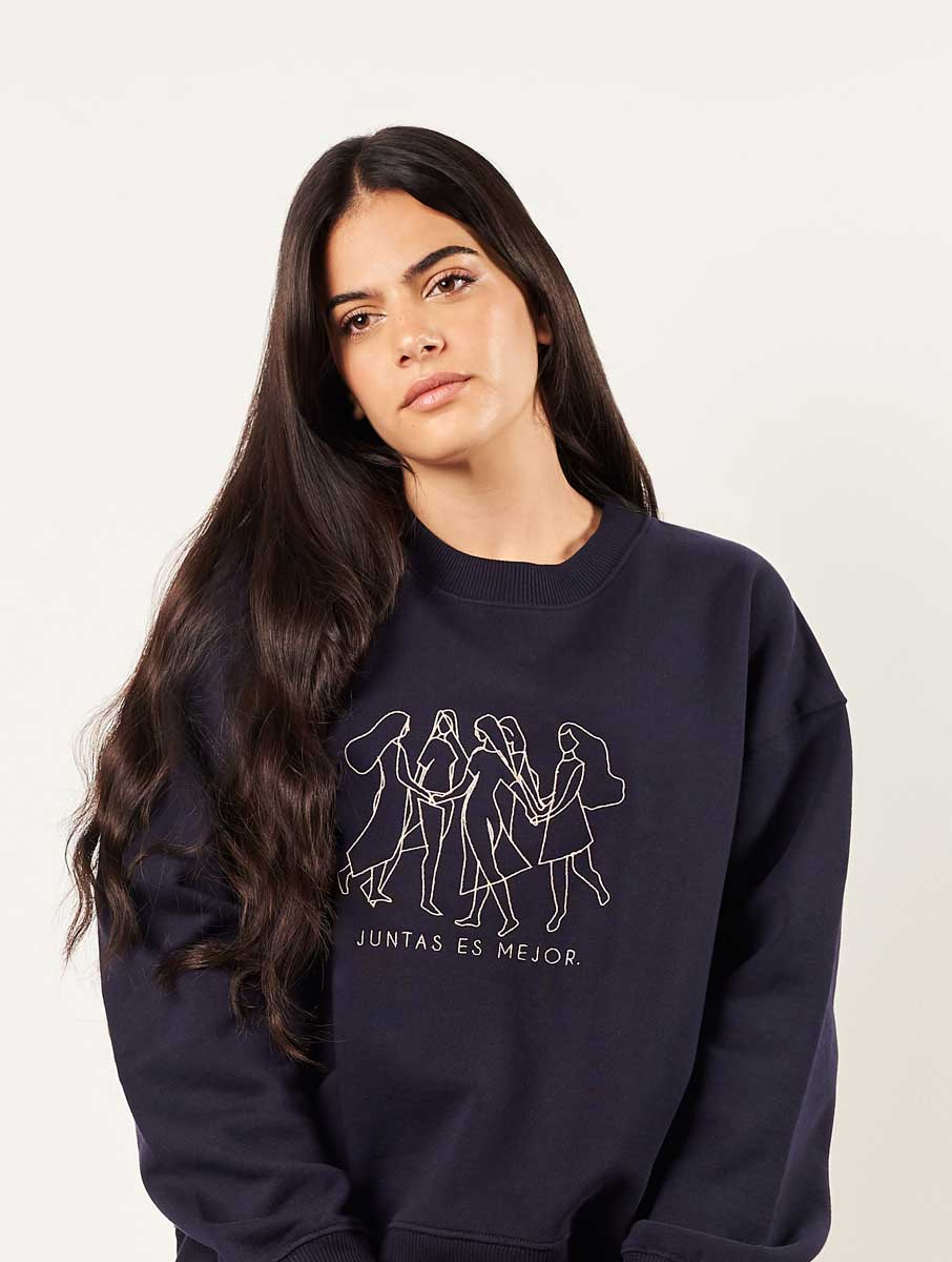 Sudadera feminista azul de algodón orgánico