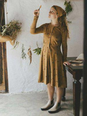 Vestido escote redondo con flores de cardo ecológico