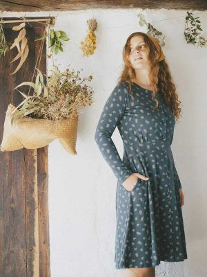 Vestido escote redondo ecológico hojas de helecho