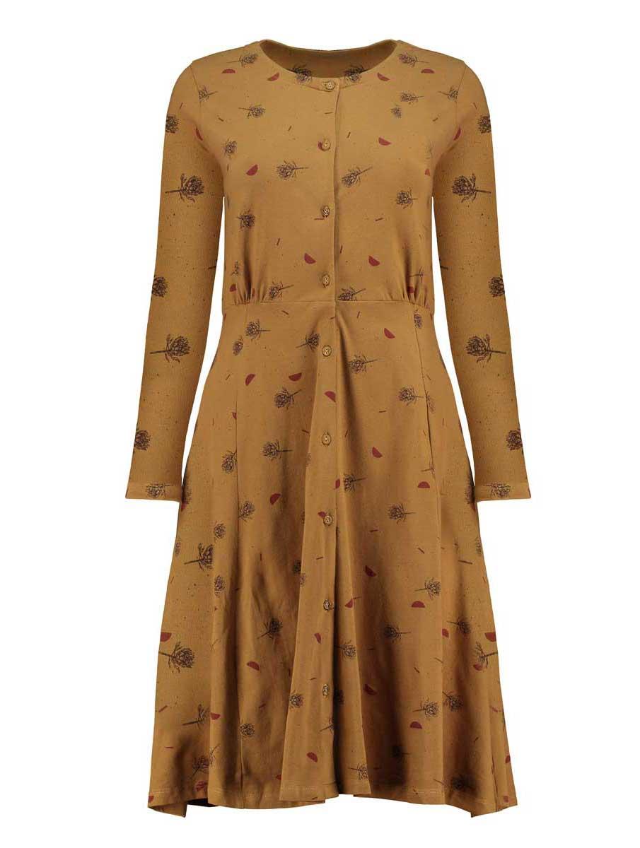 Vestido escote redondo mostaza algodón orgánico