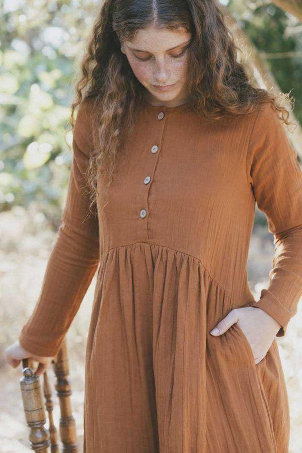Vestido mujer ecológico manga larga color teja