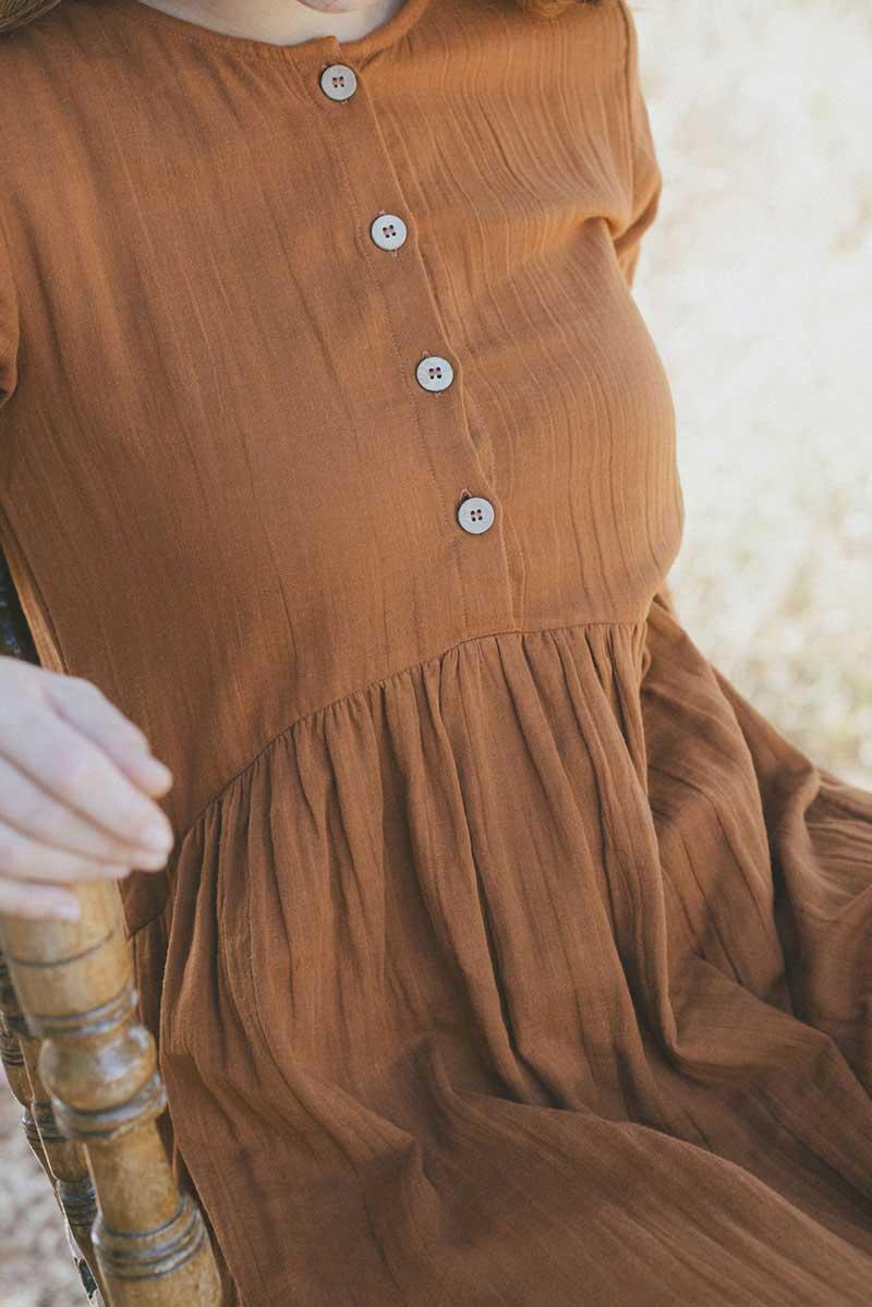 Vestido mujer manga larga teja con botones ecológico