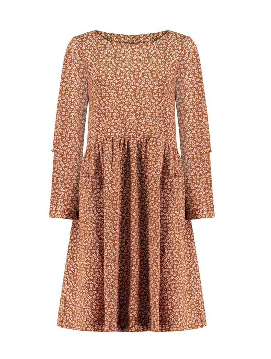 Vestido mujer oversize teja hojas de algodón orgánico