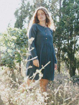Vestido oversize corto azul de algodón ecológico
