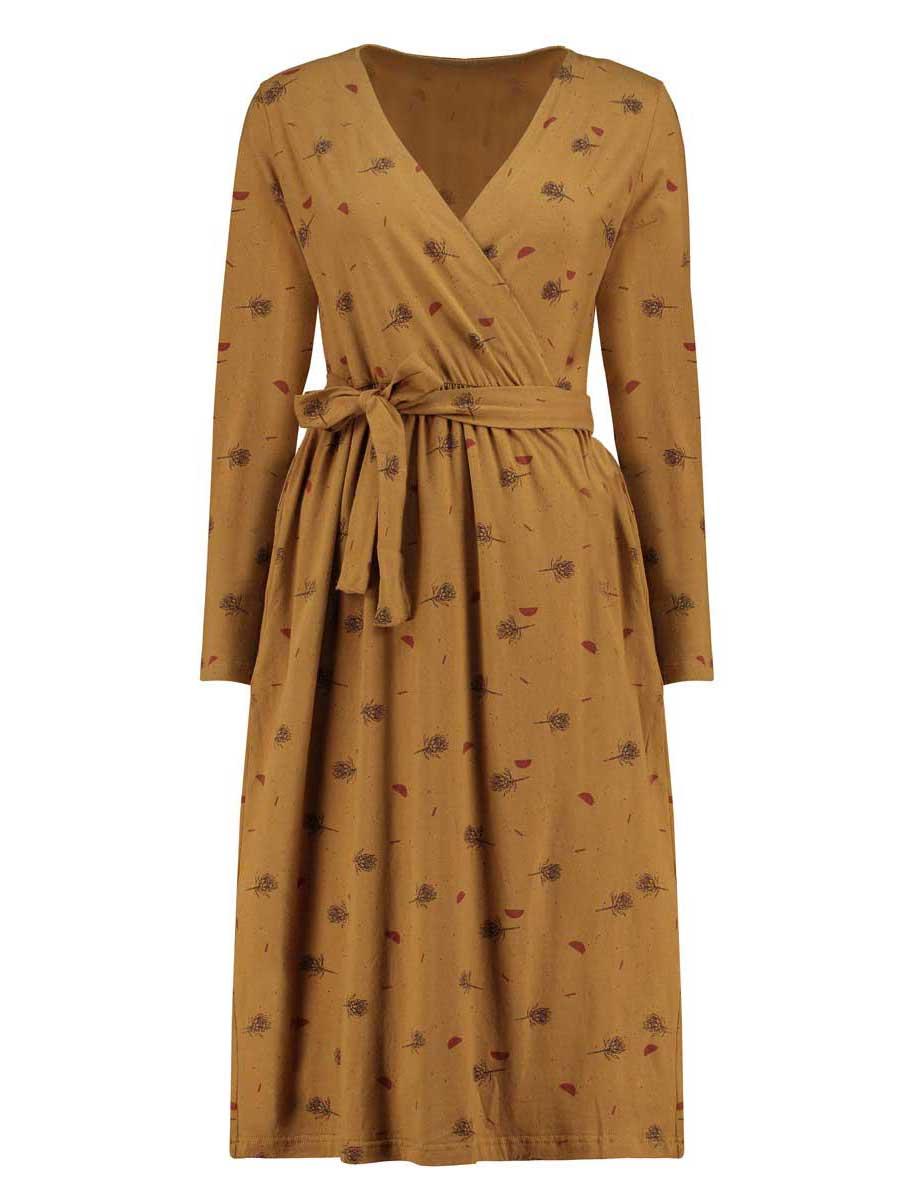 Vista completa vestido cruzado mostaza flores cardo algodón ecológico