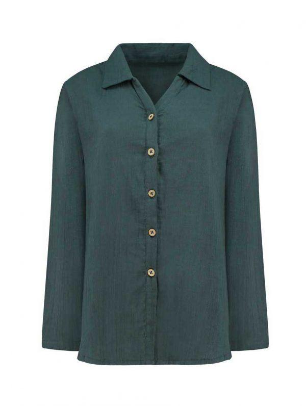 Vista frontal camisa mujer azul de algodón orgánico