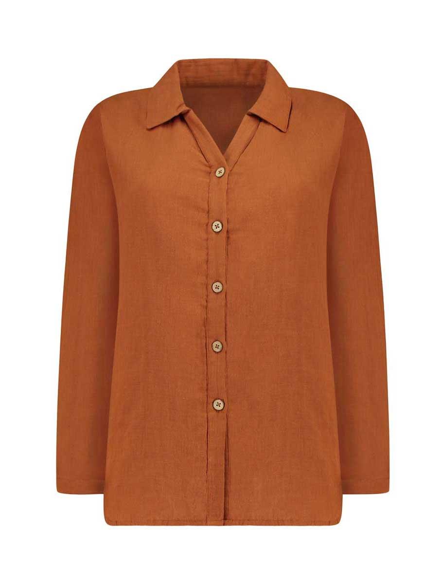 Vista frontal camisa mujer color teja de algodón orgánico