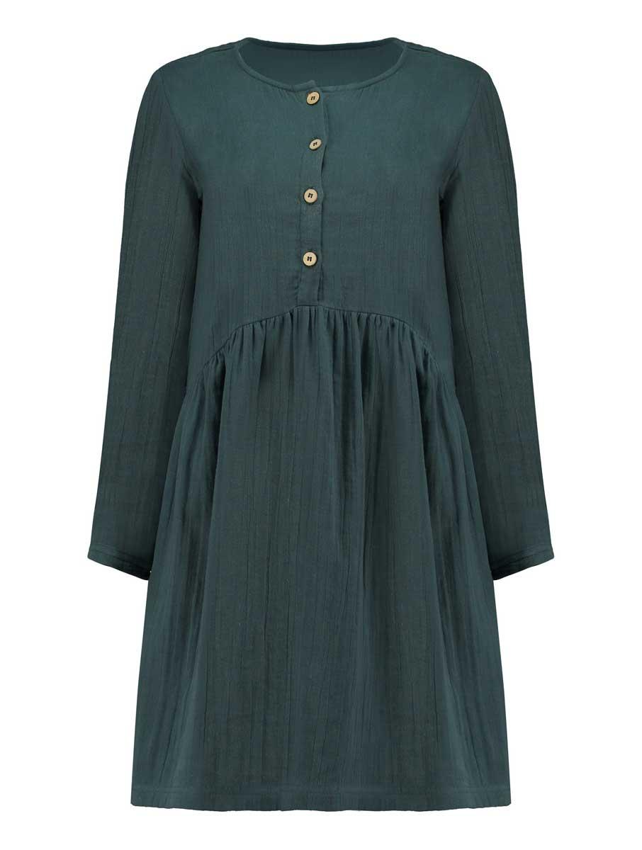 Vista frontal vestido oversize corto azul de algodón ecológico