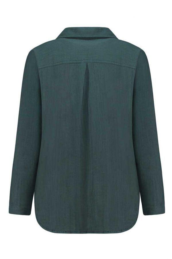 Vista trasera camisa mujer azul de algodón orgánico