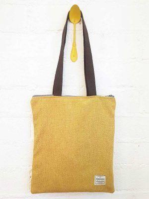 Bolso tote amarillo de tapicería vintage