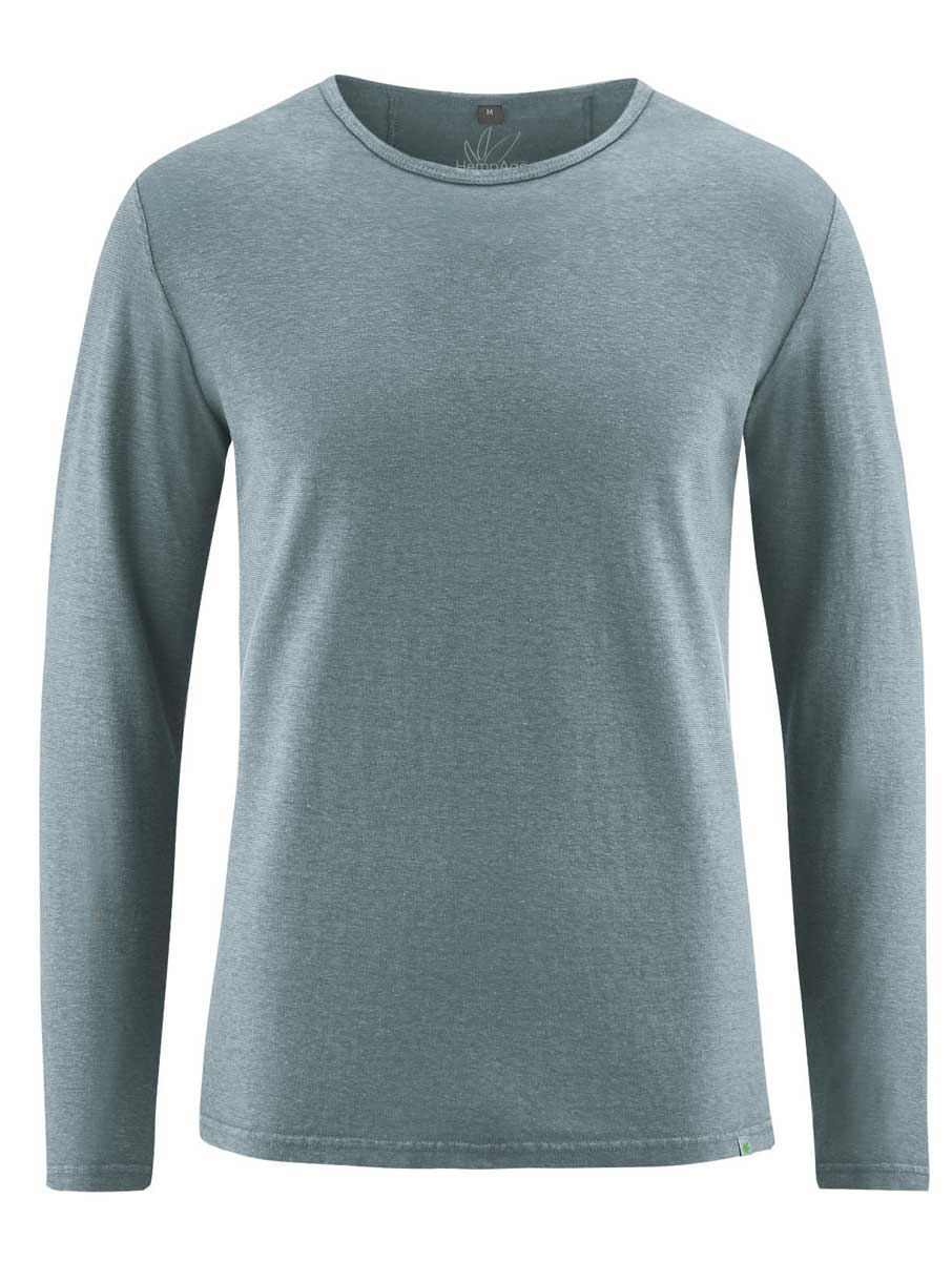 Camiseta lisa manga larga hombre gris