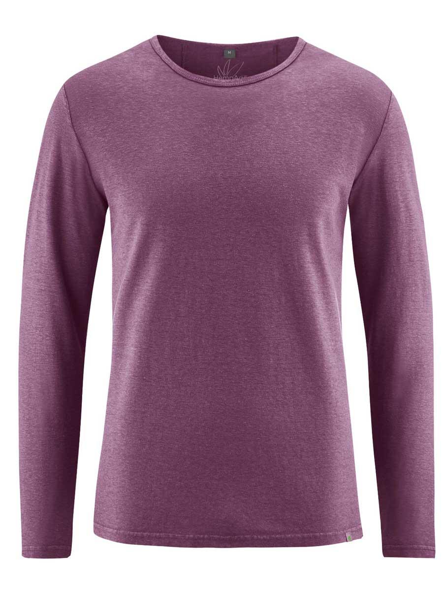 Camiseta lisa manga larga hombre púrpura