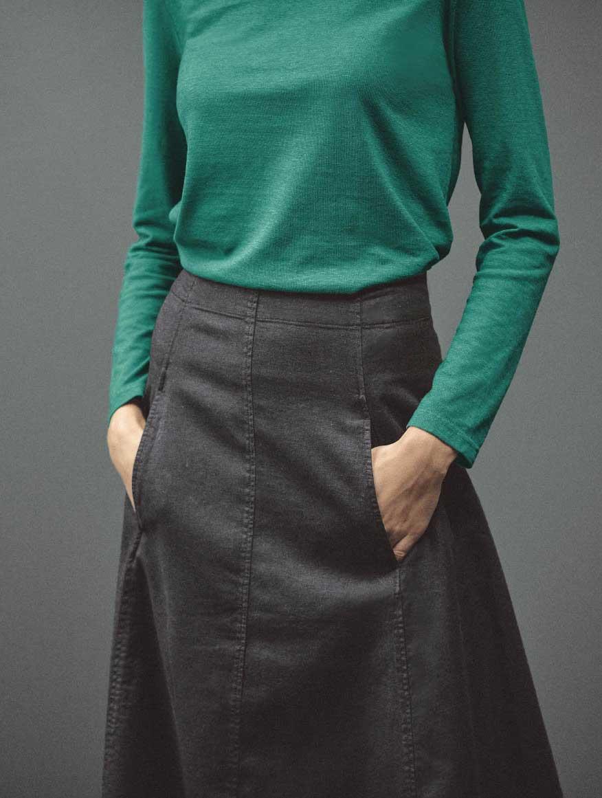 Detalle bolsillos falda vaquera ecológica de hempage