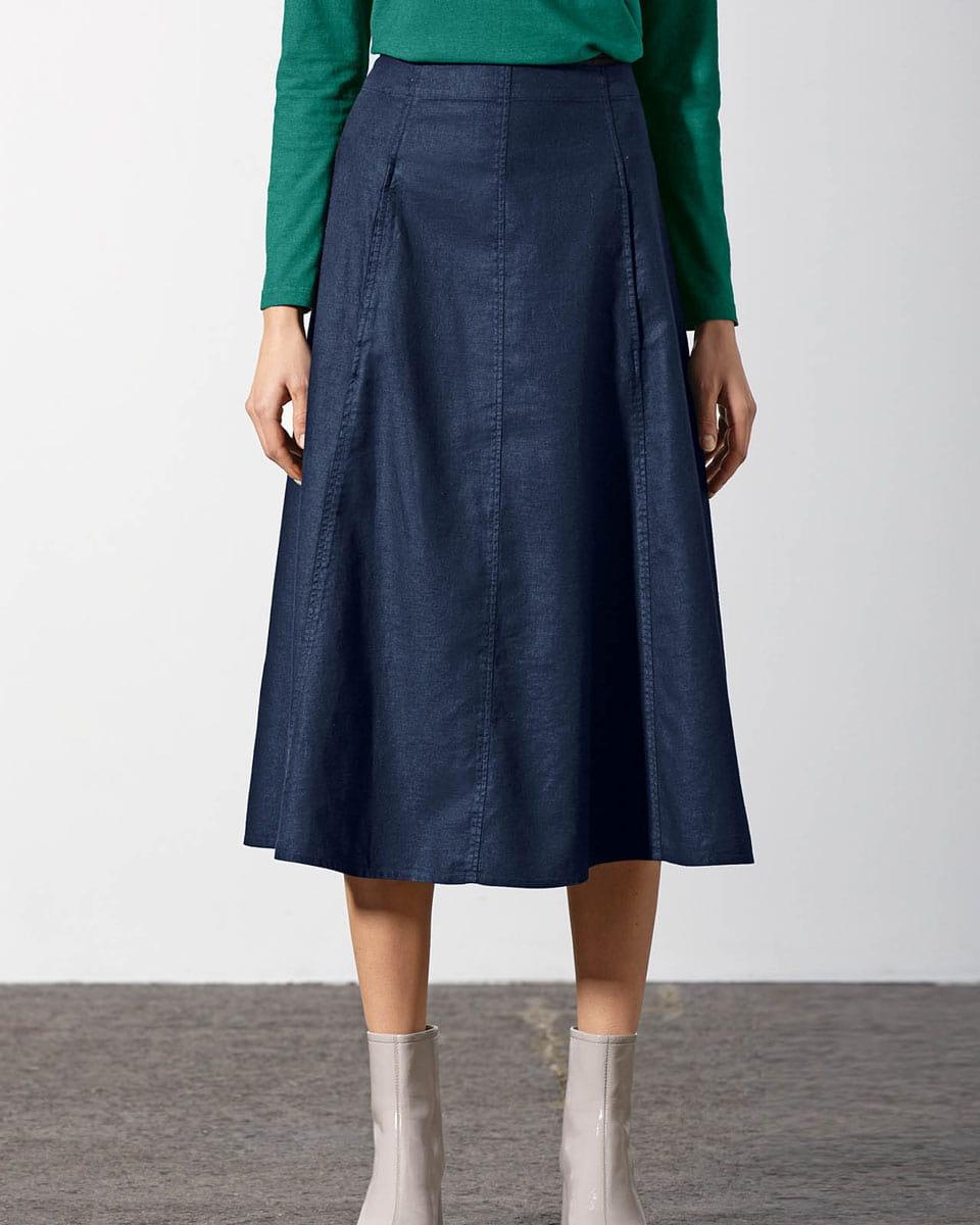 Falda vaquera azul marino de cáñamo y algodón ecológico