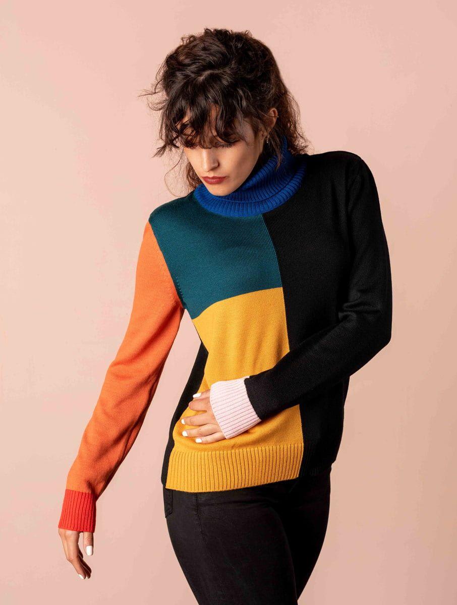 Jersey cuello alto de colores 100 lana merino