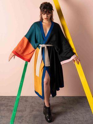 Kimono mujer de lana merino color block